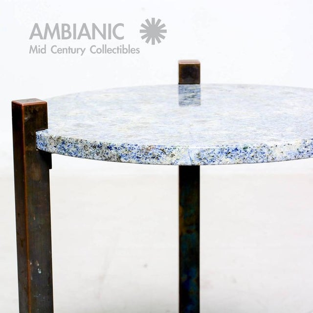 Brass Blue Granite & Solid Bronze Side Table For Sale - Image 7 of 10