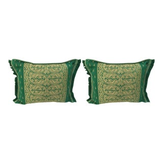 Large Pair of Moroccan Green Throw Pillows For Sale