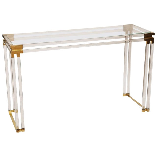 Charles Hollis Jones Style Lucite and Brass Console - Image 1 of 7