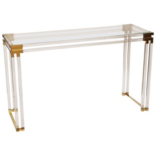 Lucite and Brass Console For Sale