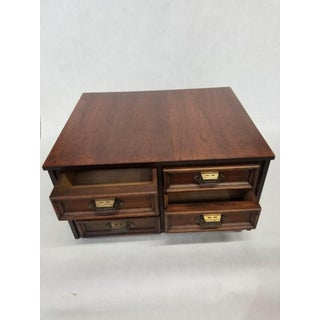 Vintage 19th Century Campaign Style Mahogany Desk Top/6 Drawer Letter File Chest Preview