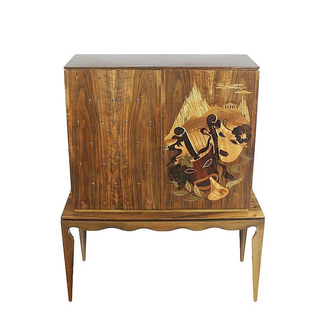 Mid-Century Modern 1940´s Small Two Blocks Dry Bar, walnut, allegorical scene marquetry - Italy For Sale - Image 3 of 9