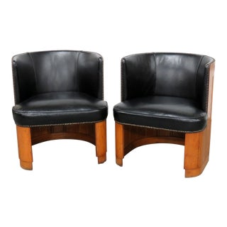 Mid-Century Modern Black Leather Barrel Chairs - a Pair For Sale