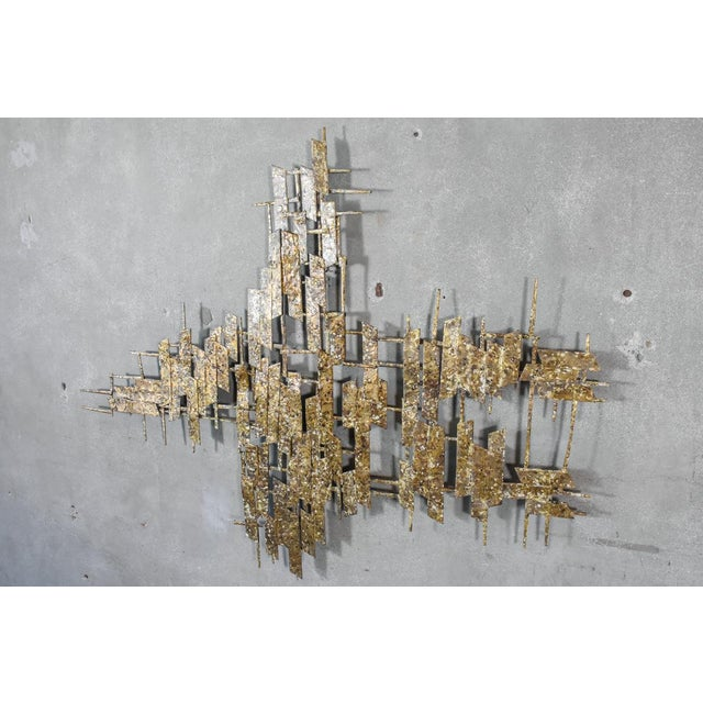 Large Brass Brutalist Wall Art by Curtis Jere | Chairish