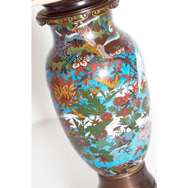Late 19th Century Japanese Meiji Cloisonne Vase as Custom Lamp For Sale - Image 4 of 13