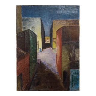 "Edward Hopper Followers ""Dark Alley"" Oil Painting C. 1930/40s For Sale"
