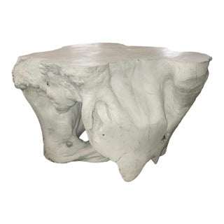 Teak Wood Root Coffee Table Painted White For Sale