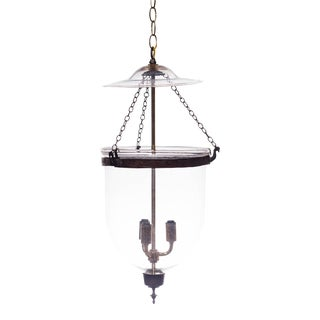 Vintage Glass Bell Jar Pendant Light For Sale