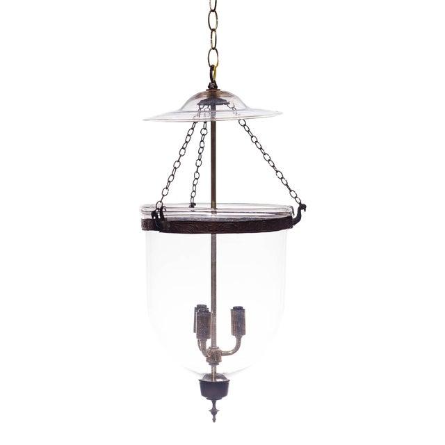 Vintage Glass Bell Jar Pendant Light For Sale