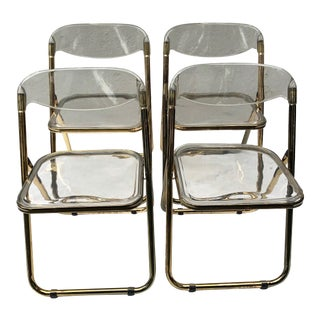 1960s Vintage Gold Plia Folding Lucite Chairs in the Style of Giancarlo Pirett- Set of 4 For Sale