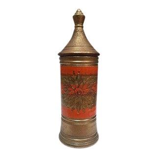 Bitossi for Rosenthal Netter Mid Century Italian Gold Metallic Pottery Jar For Sale
