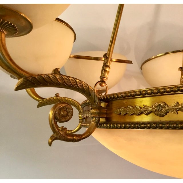 Myran Allen Luxury Lighting Neoclassical Style Cast Bronze Alabaster Chandelier For Sale In Atlanta - Image 6 of 7