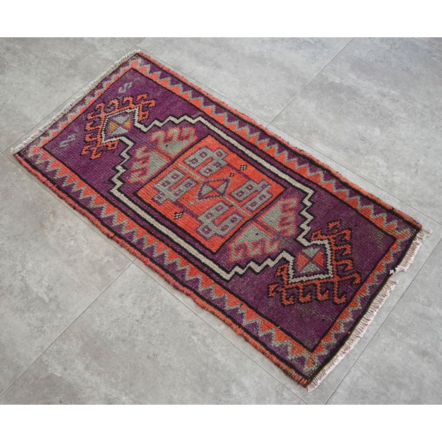 Distressed Small Rug Low Pile Hand Knotted Yastik Rug Faded Mat - 18'' X 36'' For Sale - Image 4 of 4