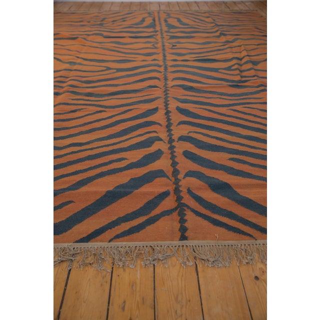 """1980s Vintage Indian Tiger Kilim Design Carpet - 9'1"""" X 12'1"""" For Sale - Image 5 of 9"""
