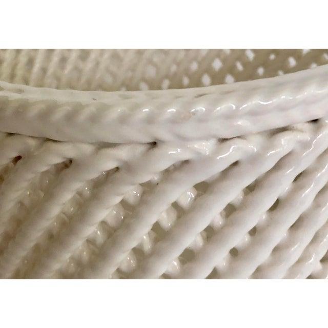 Vintage White Ceramic Lattice Flower Pot For Sale In Tampa - Image 6 of 11