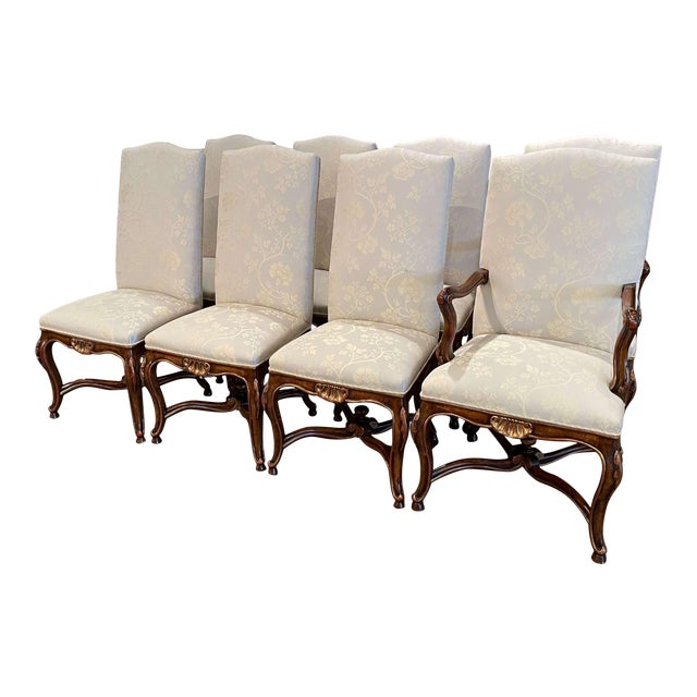 Set of Eight Louis XV Style Carved Walnut Dining Chairs From Minton-Spidell For Sale