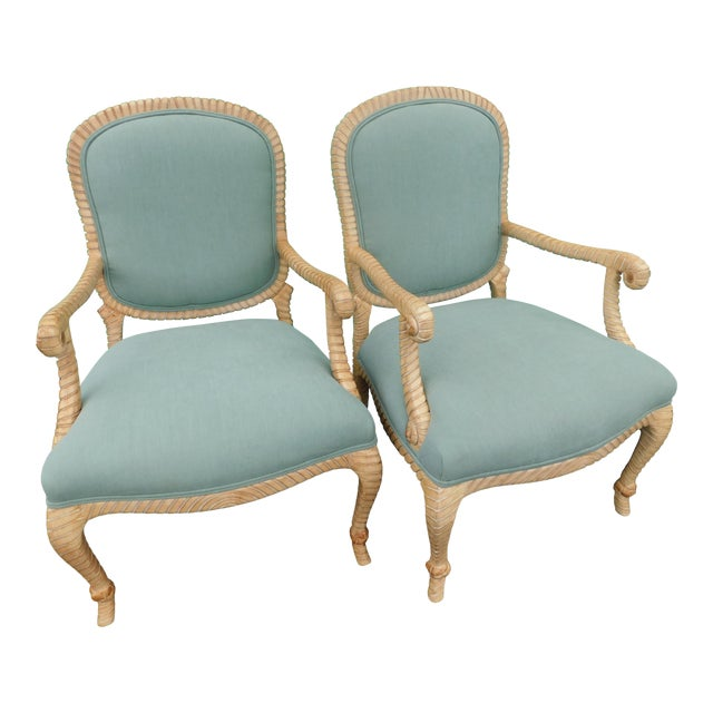 Hollywood Regency Carved Knotted & Twisted Rope Bergere Chairs - a Pair For Sale