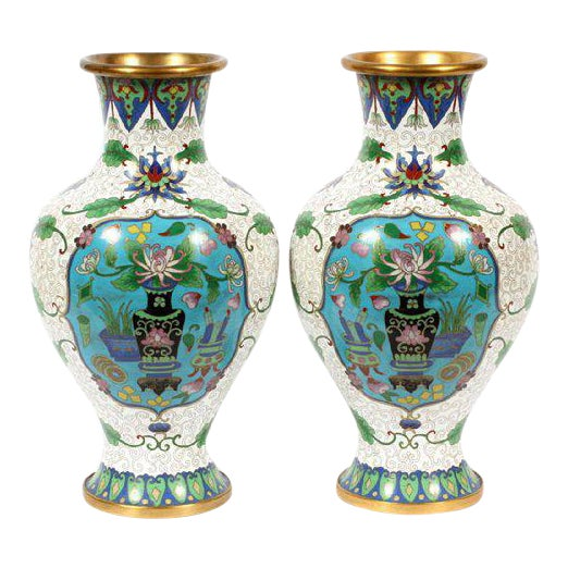 Chinese Cloisonné Vases - A Pair For Sale