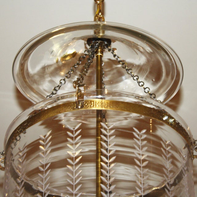 Mid-Century Modern Etched Bell Lantern With Brass Details, C. 1950 For Sale - Image 3 of 6