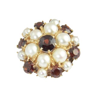 1950s Garnet & Pearl 14k Gold Dome Ring For Sale
