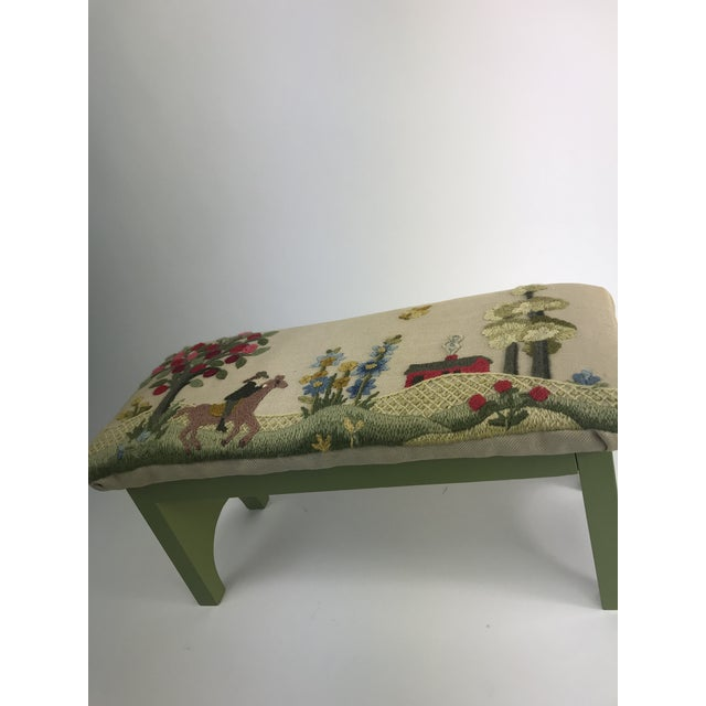 English Traditional 1970s Vintage Handmade Embroidered Foot Stool For Sale - Image 3 of 13