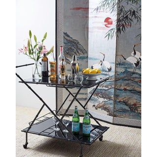 Modern Italian Black Faux-Bamboo Rolling Bar Cart Preview