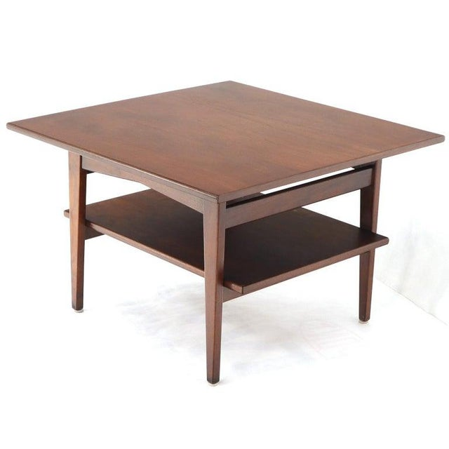 Mid-Century Modern two-tier square coffee center table oiled walnut.