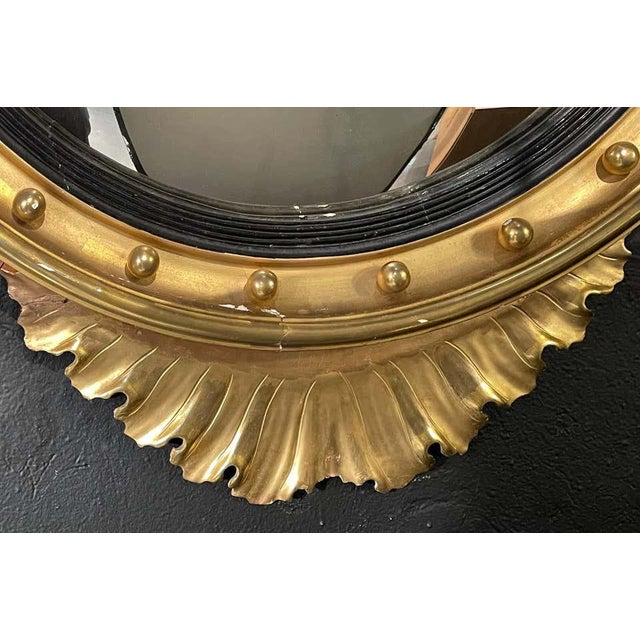 1940s Federal Style Gilt Gold Convex Mirror, Wall, Console or Pier Mirror For Sale - Image 5 of 10