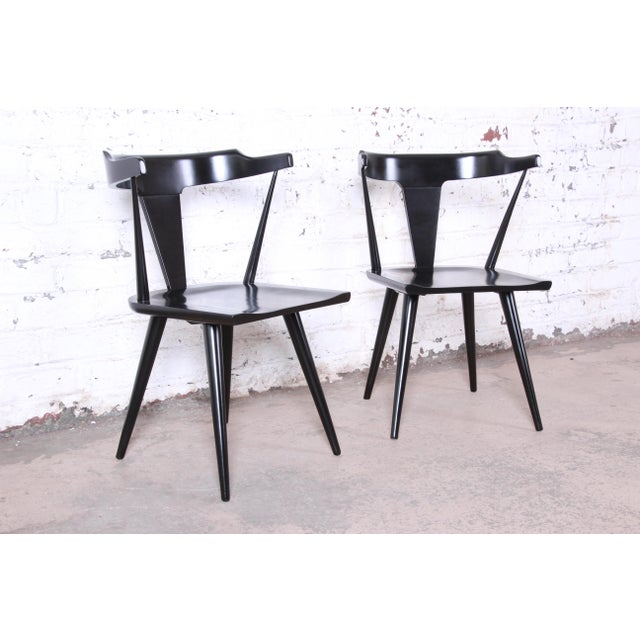 Paul McCobb Planner Group T-Back Black Lacquered Solid Maple Dining Chairs, Set of Ten For Sale - Image 11 of 13