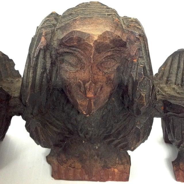 Vintage Hand Carved Wise Monkeys Sculpture - S/4 For Sale - Image 4 of 8