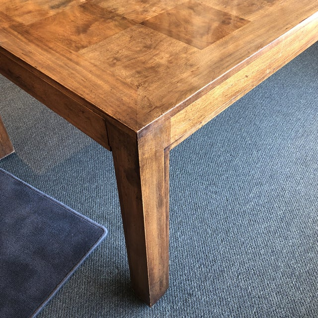 Custom Parquet Extension Dining Table For Sale - Image 4 of 13