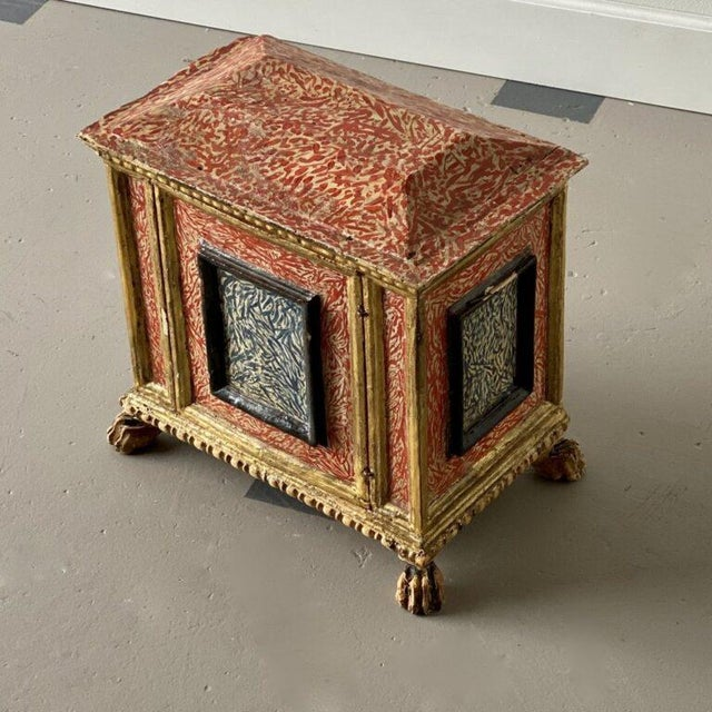19th C. Miniature Italian Cabinet with painted detail. Height: 16″ Width: 17″ Depth: 10″