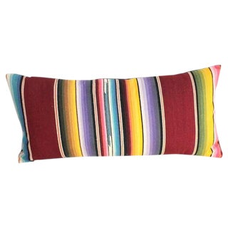 Mexican Colorful Serape Bolster Pillow For Sale
