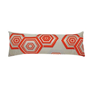 Geometric Vintage Orange Obi Pillow For Sale