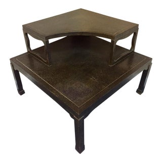 Vintage Fumed Oak Two-Tier Corner Coffee Table For Sale