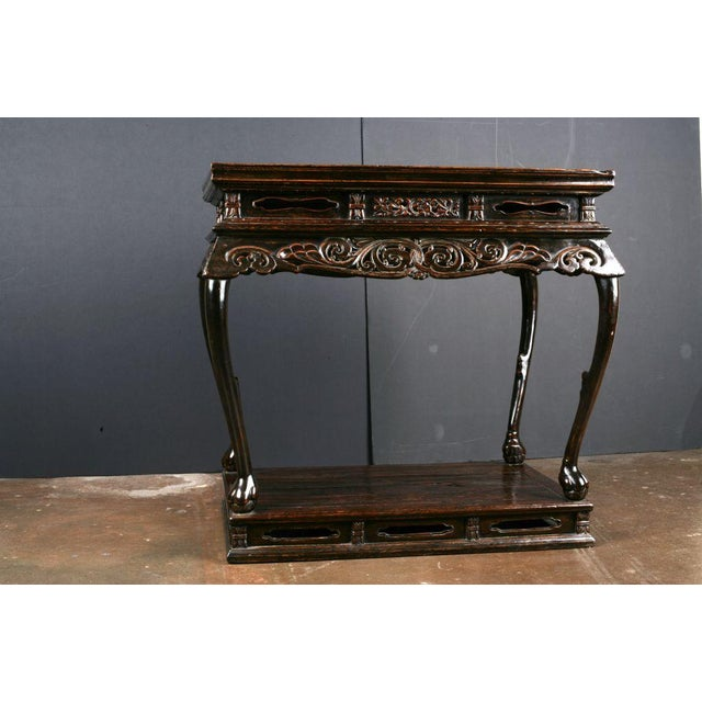 Asian An Extremely Rare Late Ming Dynasty Elm and Burl Altar Table For Sale - Image 3 of 7
