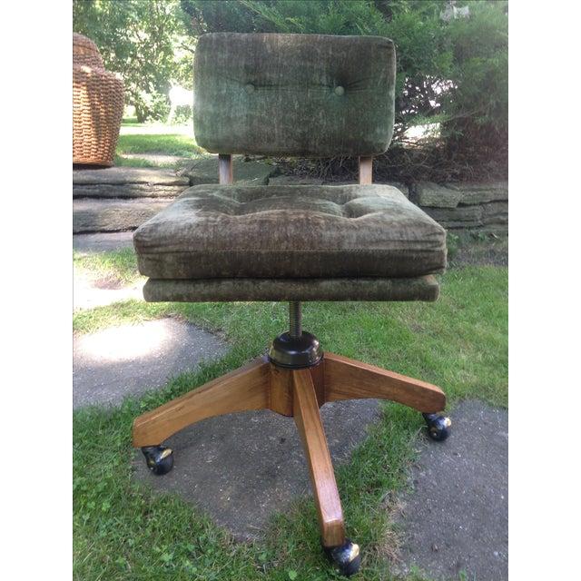 Mid-Century Green Velvet Swivel Chair - Image 3 of 10
