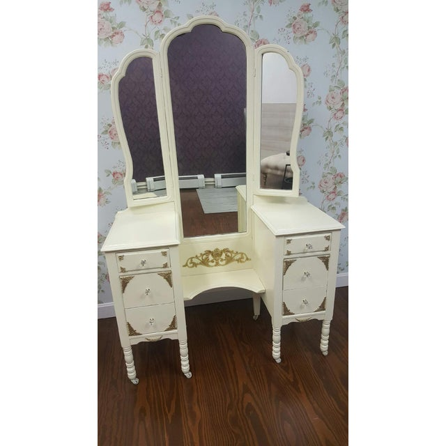 Gold Victorian Ivory VanityMakeup Dresser With Gold Leaf Accents With Mirror For Sale - Image 8 of 8