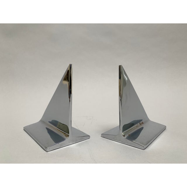 Mid-Century Abstract Modern Chrome Bookends - a Pair For Sale - Image 4 of 13