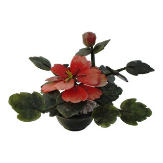 Asian Mid-Century Floral Stone Potted Tree For Sale