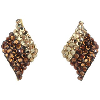1980's Brown Pave Crystal Clip on Earrings For Sale