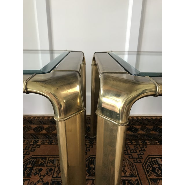 Mid-Century Modern Mid Century Brass Waterfall Side Tables by Widdicomb, a Pair For Sale - Image 3 of 9