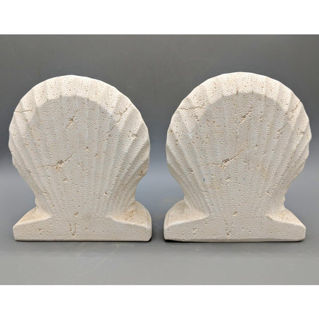 Late 20th Century Off-White Scallop/ Clam Shell Bookends - a Pair For Sale In Houston - Image 6 of 9