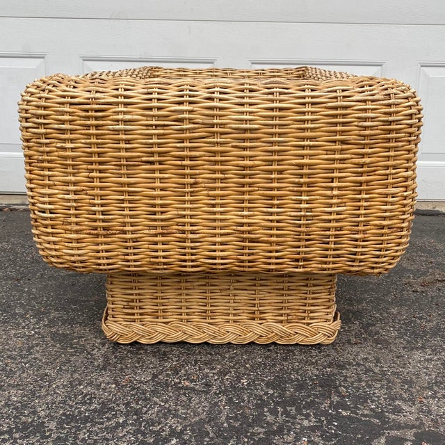 Natural Woven Rattan and Glass Plinth Coffee Table For Sale - Image 4 of 8