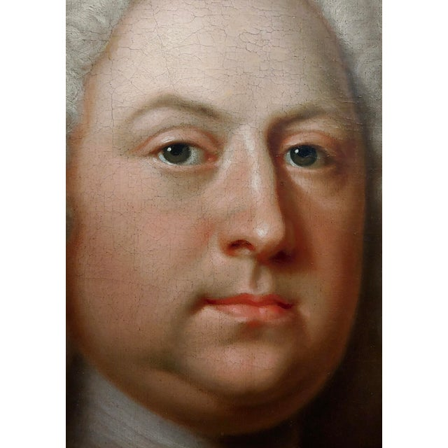Canvas Portrait of an English Aristocrat in Green Coat-18th Century Oil Painting Possibly by Thomas Hudson For Sale - Image 7 of 11