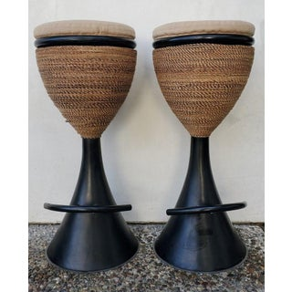 1960s Vintage Italian Rattan and Metal Stools- Set of 3 Preview
