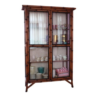 Chinoiserie Faux Bamboo China Cabinet For Sale