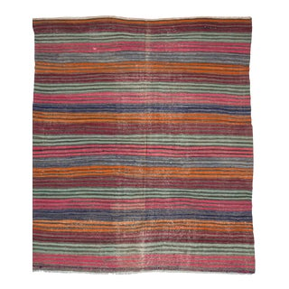Vintage Colorful Striped Turkish Kilim Rug For Sale