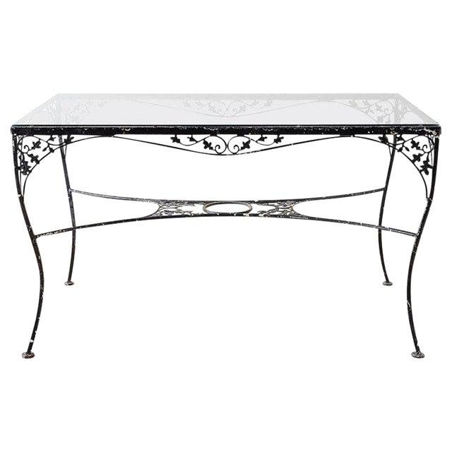 Salterini Style Wrought Iron Patio Garden Table For Sale