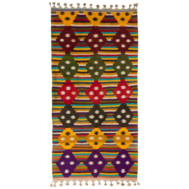 Maroon Multi-Color Striped Cotton Indian Dhurrie Rug For Sale - Image 8 of 8